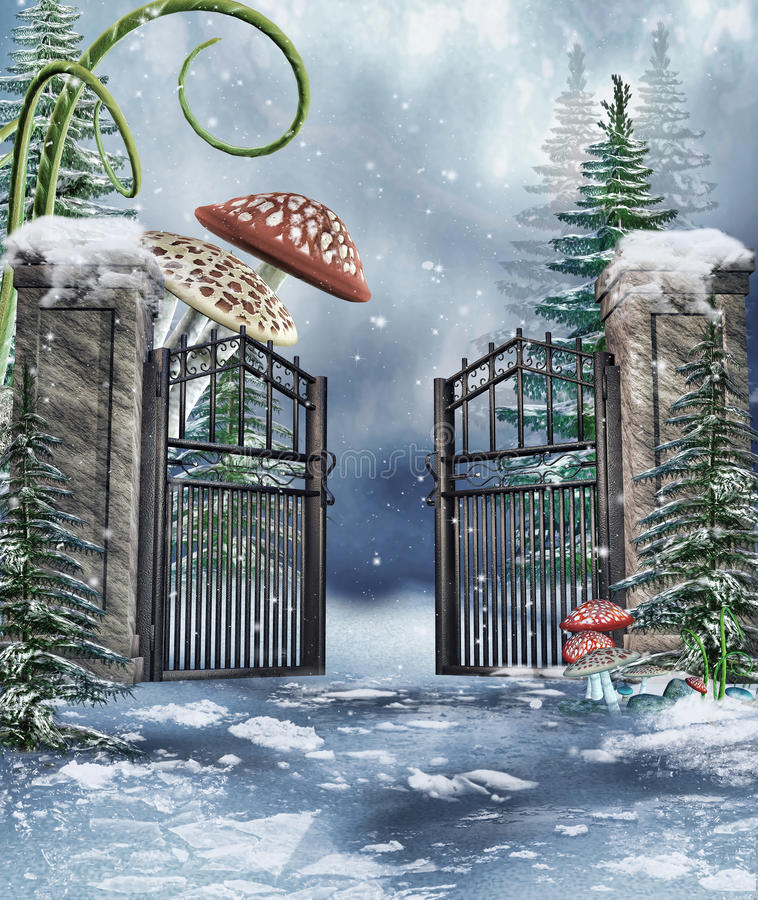 Garden gate with mushrooms. Winter scenery with a garden gate and colorful fantasy mushrooms vector illustration