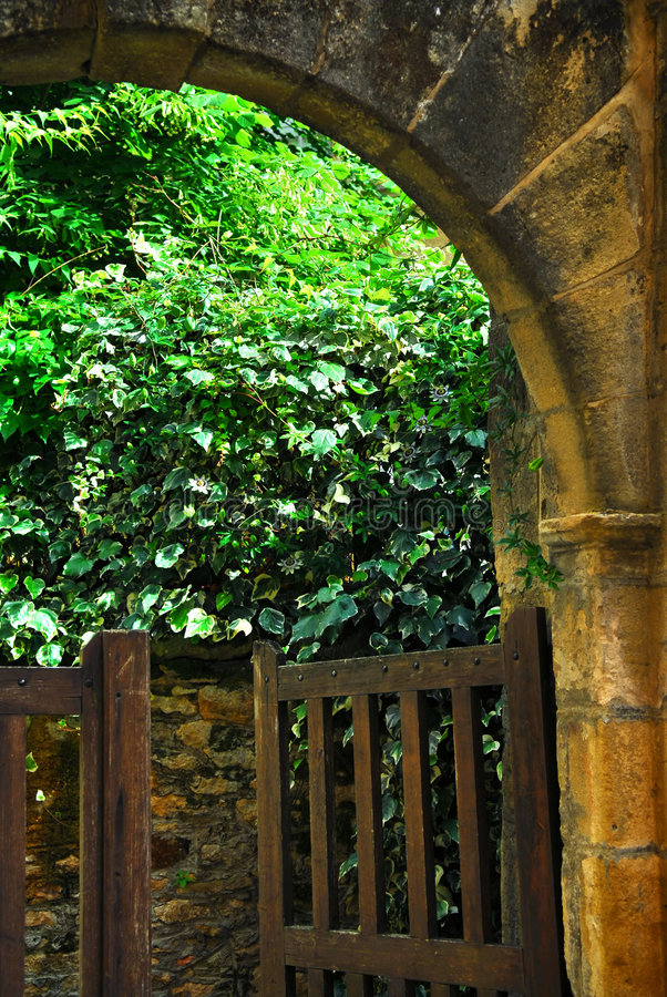 Garden gate in Sarlat, France. Garden gate in medieval town of Sarlat, Dordogne region, France stock images