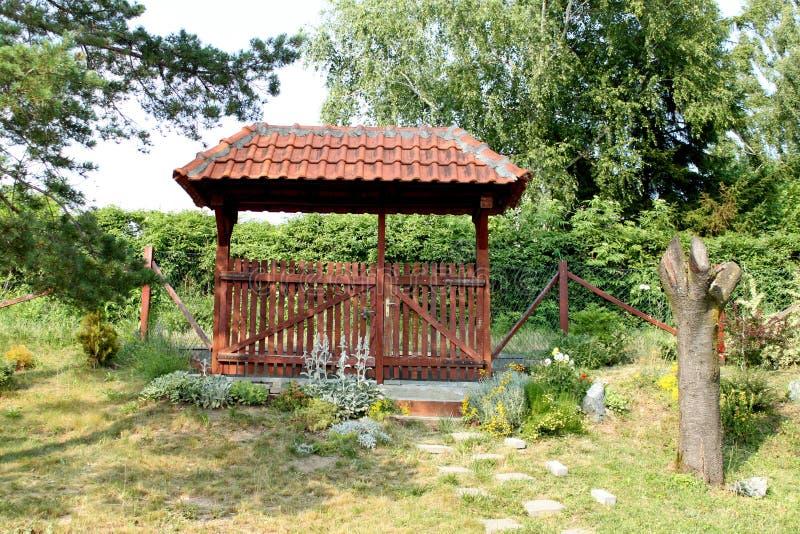 Garden gate in Serbia. Wooden garden gate in Serbian village near Kragujevac city royalty free stock photography