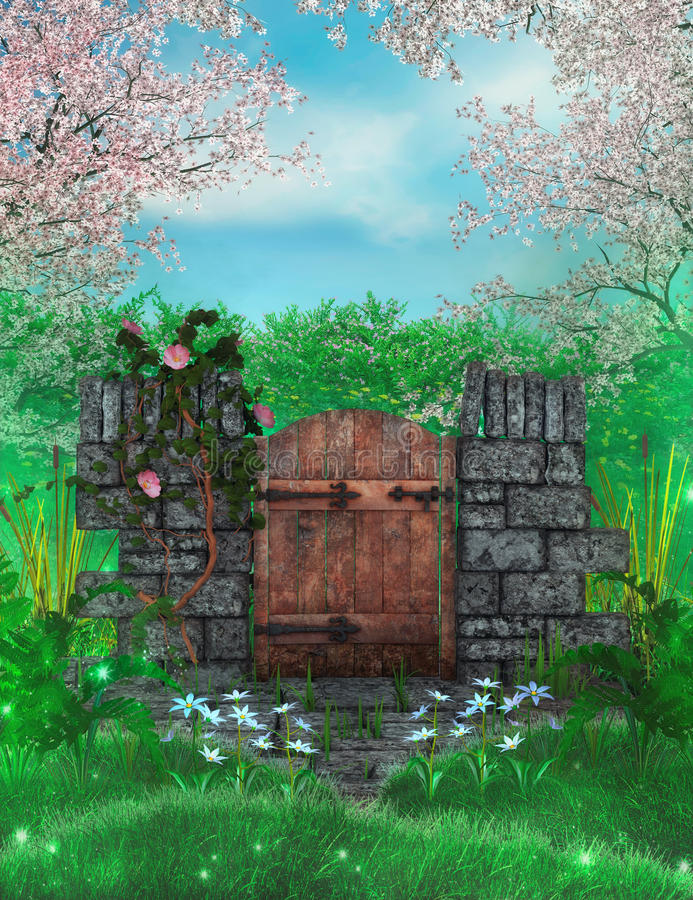 Garden gate. Spring blossoms with roses and garden gate fantasy background vector illustration