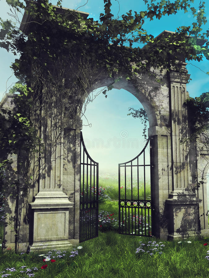 Garden gate with spring vines. Old gothic garden gate with green ivy on a spring meadow royalty free illustration