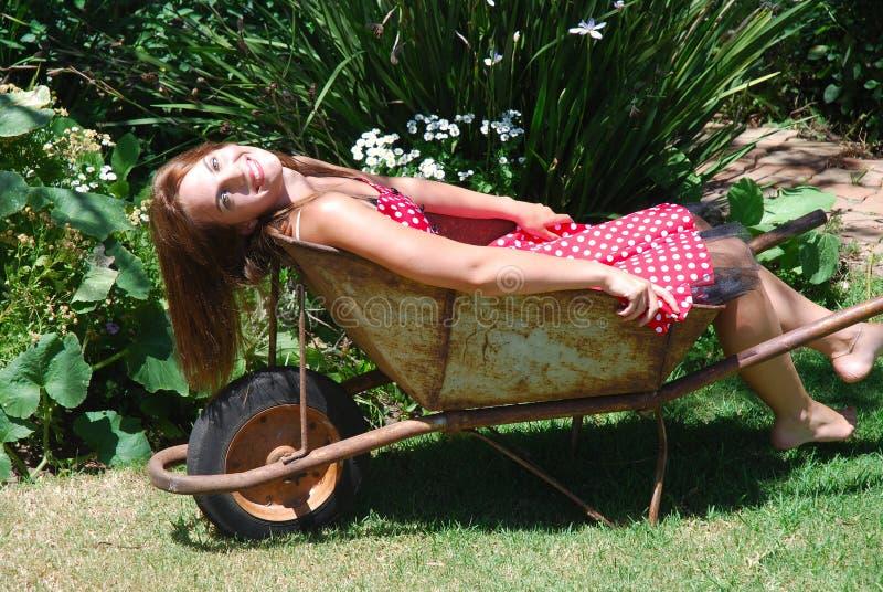Garden girl stock photo
