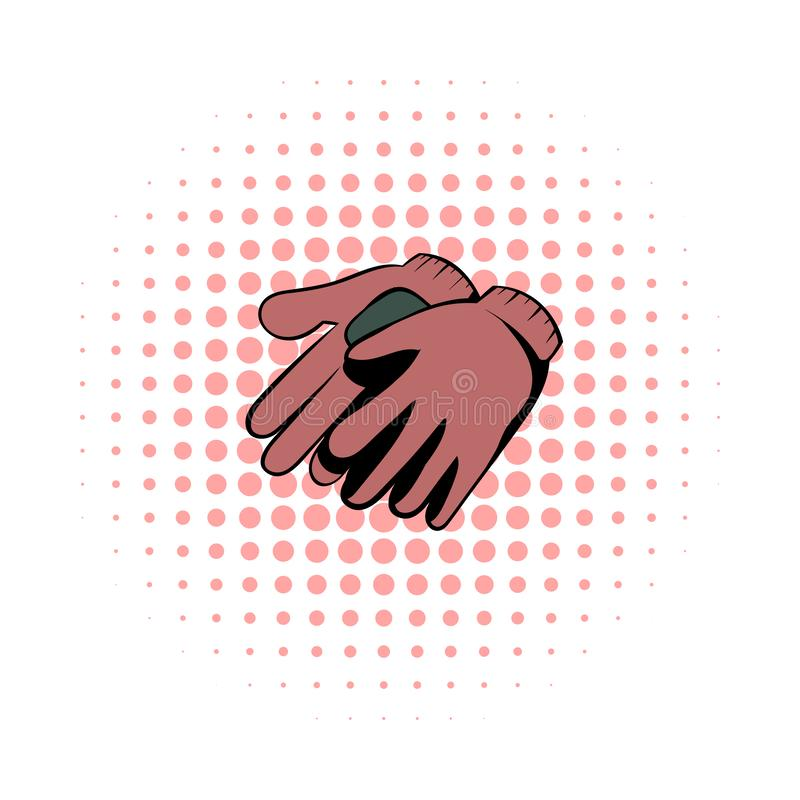 Garden gloves comics icon. Garden symbol on a white background vector illustration