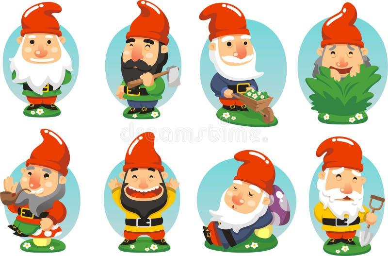 Garden gnome cartoon collection stock illustration