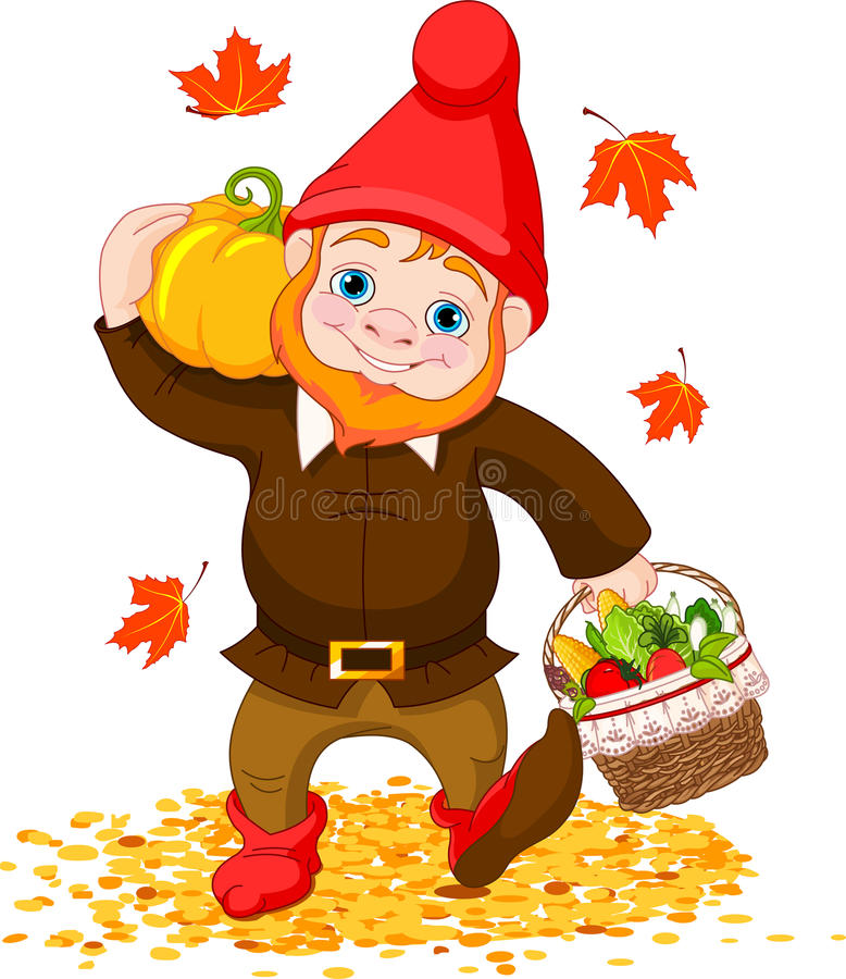 Garden Gnome with harvest stock illustration