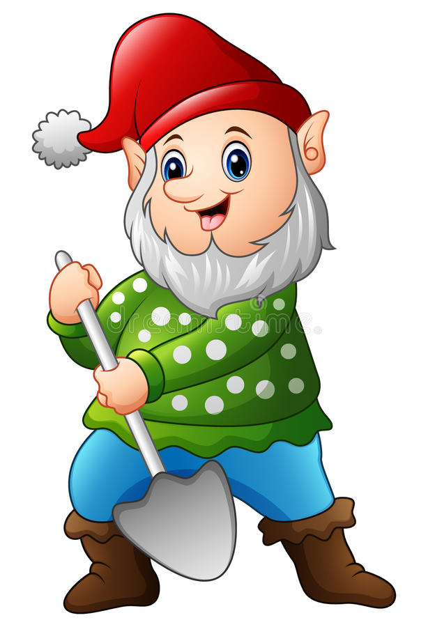 Garden gnome with a shovel royalty free illustration