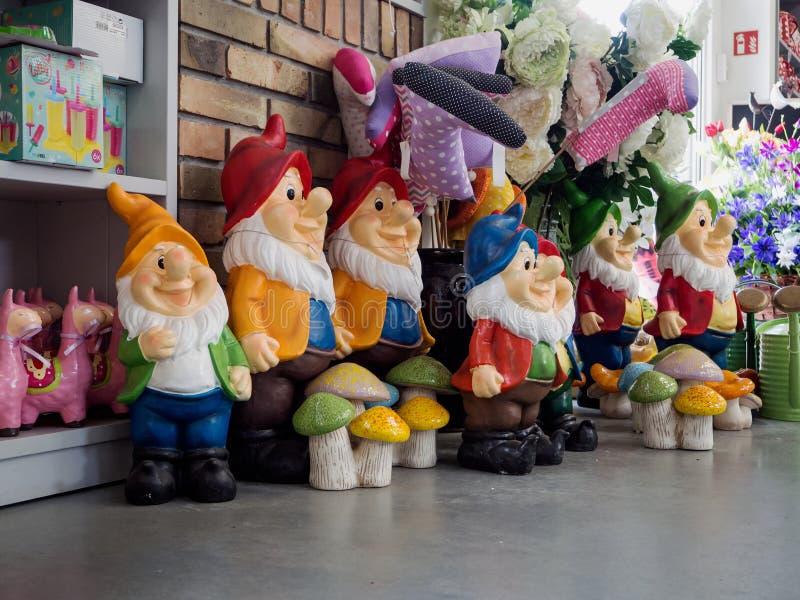 Garden gnomes, garden center, garden store, part of the exhibition stock photo