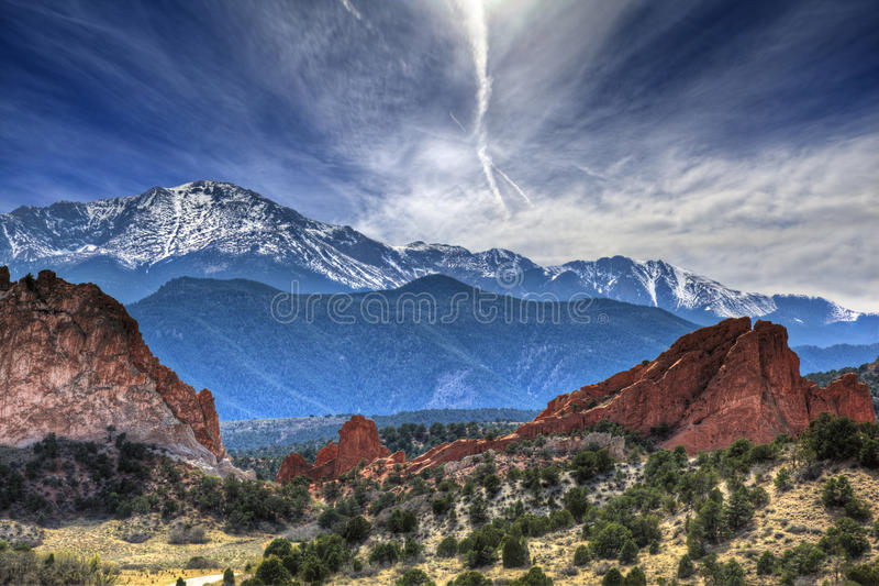 Garden of the Gods. A High Dynamic Range photo of the Garden of the Gods park in Colorado Springs, Colorado with Pikes peak in the background royalty free stock images