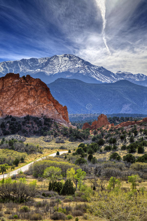 Garden of the Gods. A High Dynamic Range photo of the Garden of the Gods park in Colorado Springs, Colorado with Pikes peak in the background stock photos