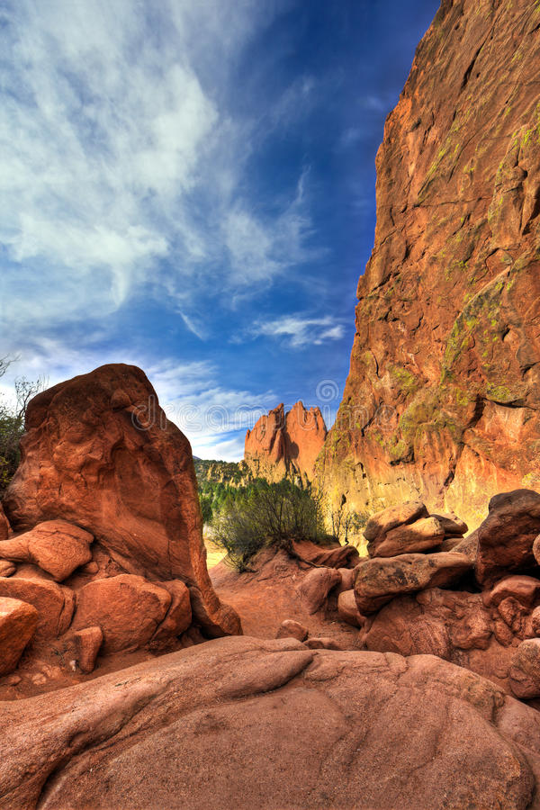 Garden of the Gods. A high dynamic range landscape photo of the red rocks in the Garden of the Gods park in Colorado Springs, Colorado royalty free stock photo