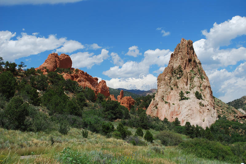 Garden of the Gods Colorado Springs, CO. Two peaks at Garden of the Gods National Monument in Colorado Springs, Colorado, United States stock photo