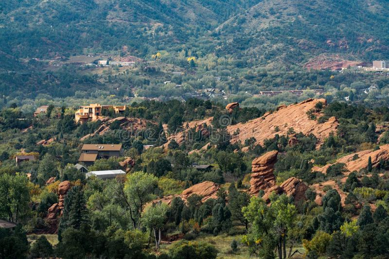 Garden of the gods colorado springs rocky mountains. Garden of the gods in colorado springs - travel vacation in the rocky mountains stock images