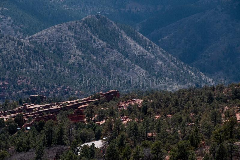 Garden of the gods colorado springs rocky mountains. Garden of the gods in colorado springs - travel vacation in the rocky mountains stock photo
