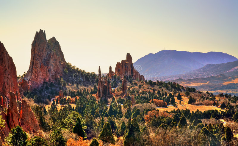 Garden of the Gods HDR. Image taken in December at the Garden of the Gods stock photography