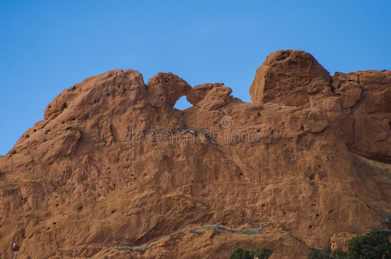 Garden of the Gods Park. Kissing Camels famous at the Garden of the Gods. Red rocks in the Spring time. Located in Colorado Springs, Colorado royalty free stock image