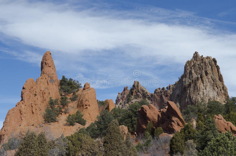 Garden of the Gods Park. Garden of the Gods red rocks in the winter. Located in Colorado Springs, Colorado stock photography