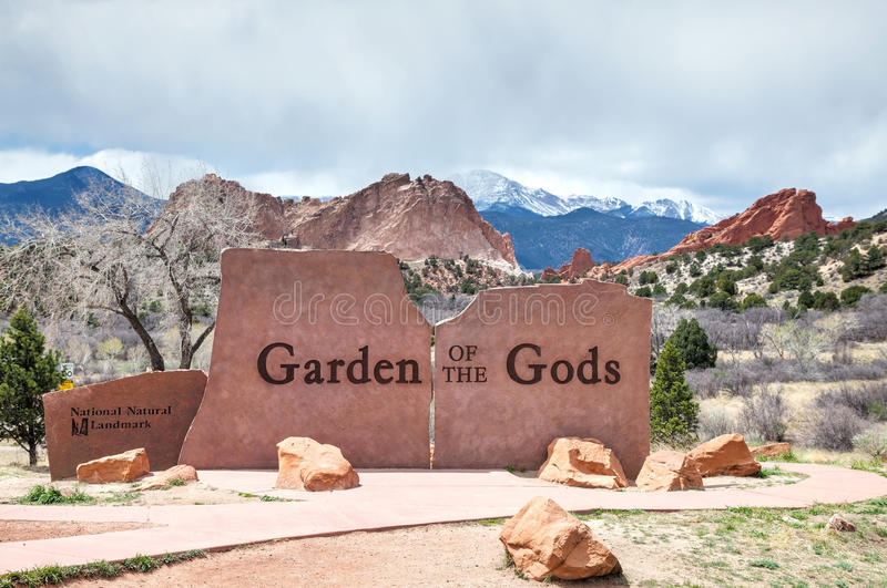 Garden of the Gods sign in Colorado Springs royalty free stock images
