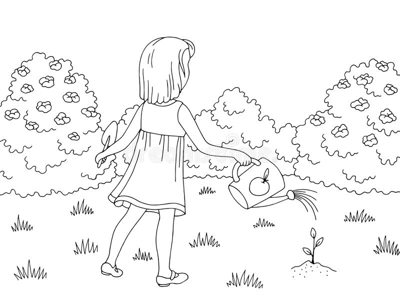Garden graphic black white landscape sketch girl watering sprout illustration vector. Garden graphic black white landscape sketch girl watering sprout royalty free illustration