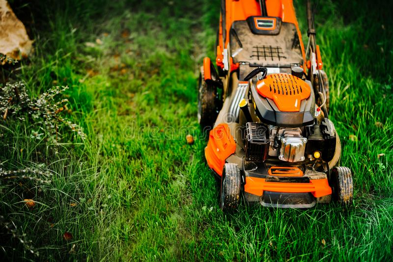 Maintenance details - close up view of grass mower, lawnmower details stock images
