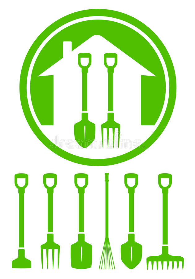 Garden green icon with tools. Set silhouette vector illustration
