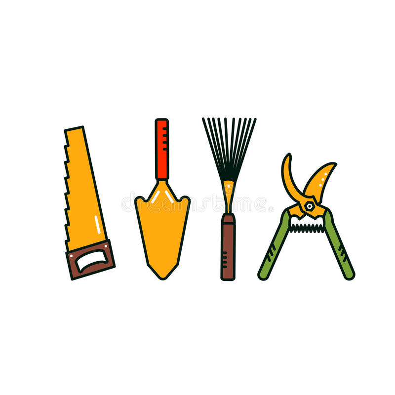 Garden hand tools. Garden tools. Isolated garden equipment on white background. Vector spade, saw, secateurs, lawn rake stock illustration