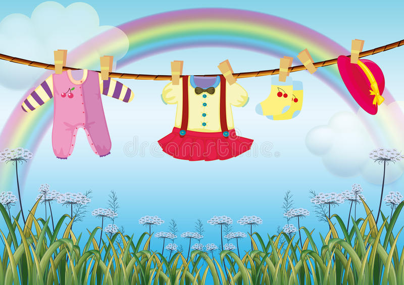 A garden with hanging baby clothes. Illustration of a garden with hanging baby clothes vector illustration