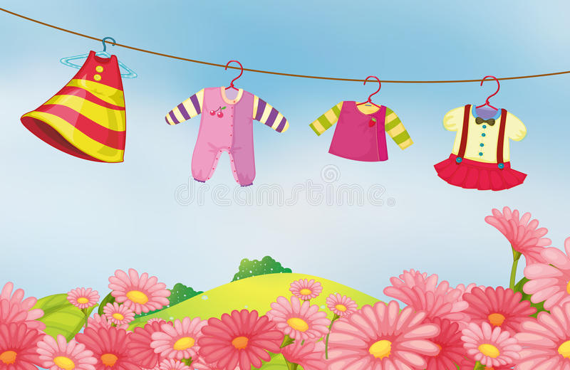 A garden with hanging clothes for the baby. Illustration of a garden with hanging clothes for the baby royalty free illustration