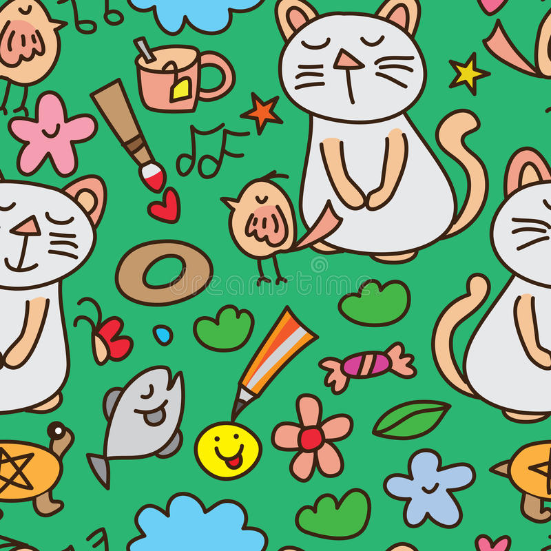 Garden happy animal natural seamless pattern vector illustration