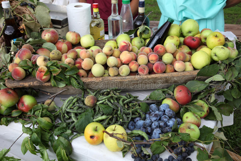 Garden harvest of homegrown produce stock photos