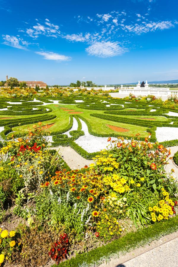 Garden of Hof Palace, Lower Austria, Austria. Outdoors outside exteriors europe central schloss flora vegetation plant flower flowerbed baroque history historic royalty free stock photo