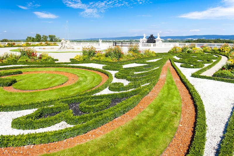 Garden of Hof Palace, Lower Austria, Austria. Outdoors, outside, exteriors, europe, central, schloss, flora, vegetation, plant, flower, flowerbed, balustrade royalty free stock photos