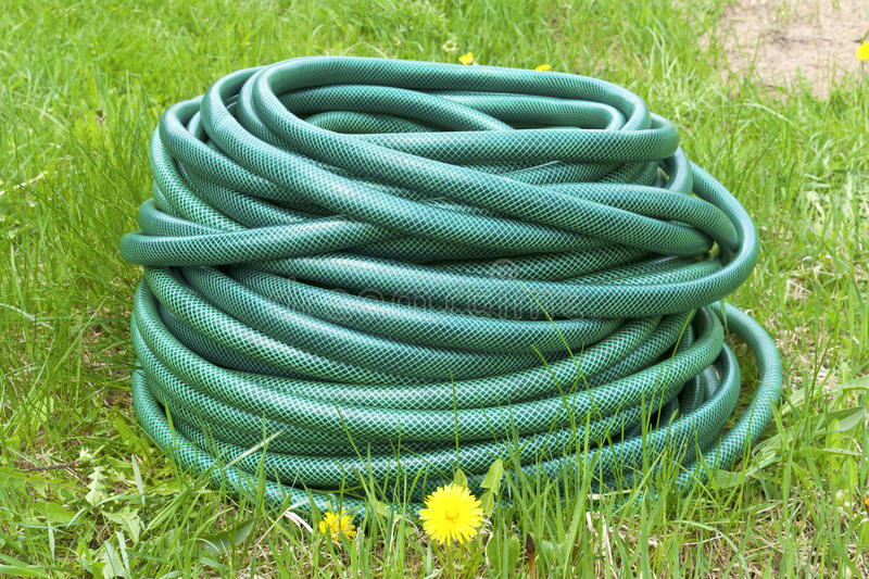 Garden hose for water. On the green grass royalty free stock photo