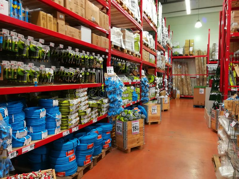 Garden hoses and bricolage. At Brico Depot hipermarket royalty free stock photos