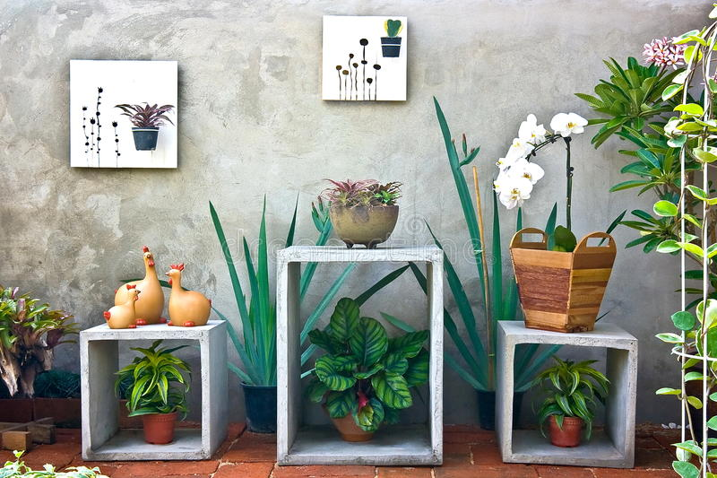 Garden in house. In a small garden behind the house stock photography