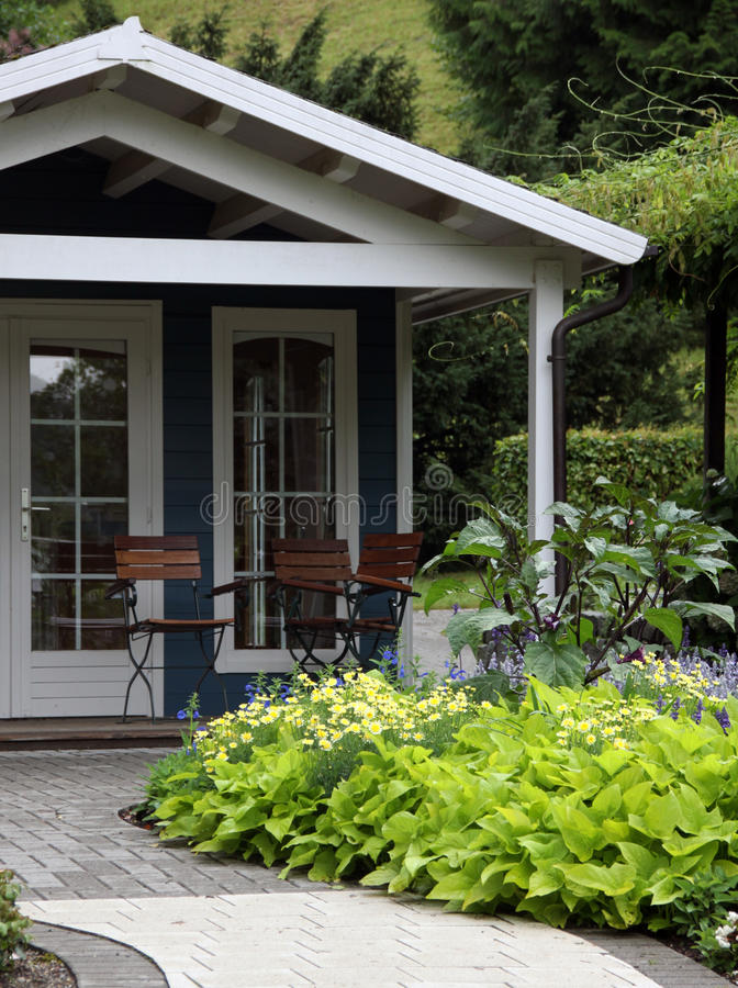 Download Garden House And Terrace With Ornametal Garden Stock Image - Image: 21082473