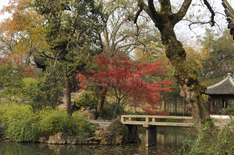 Garden of the Humble Administrator, Suzhou, China. With pavilion and small bridge over water stream stock images