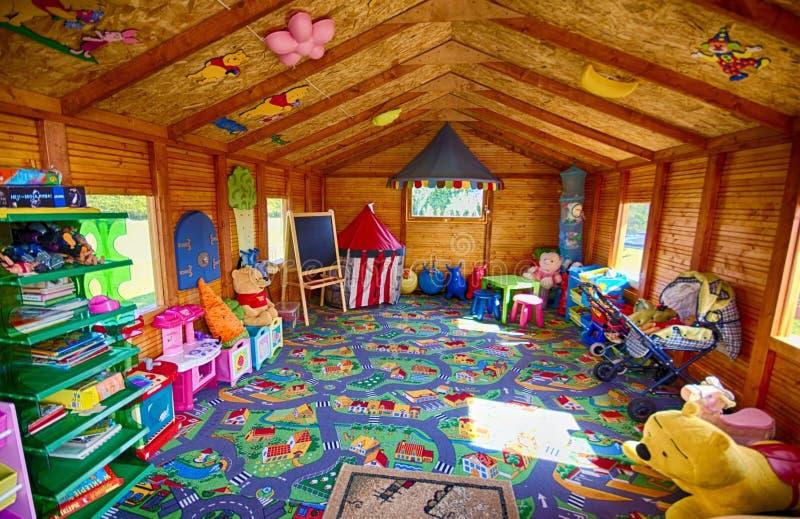 Garden hut for children stock photography