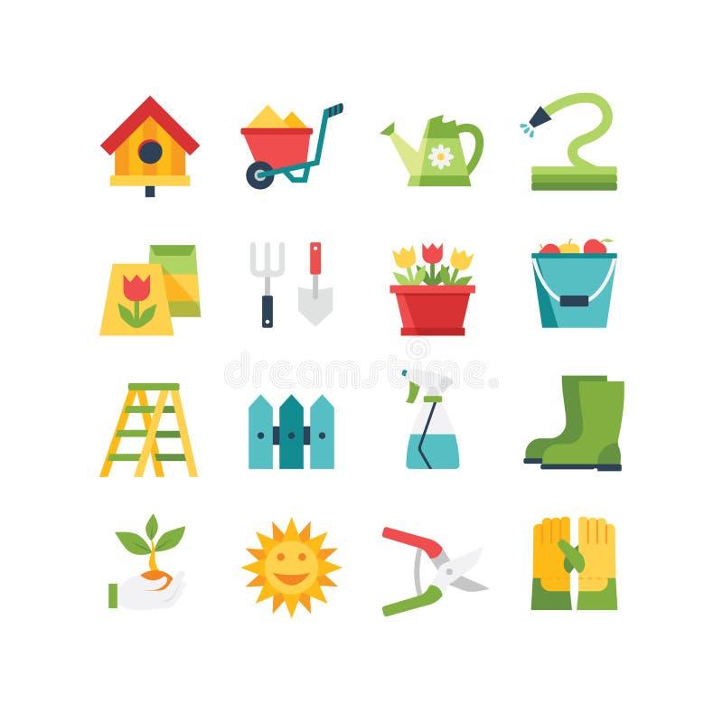 Garden Icon Set. A set of garden related icons, eps 10, no transparencies stock illustration