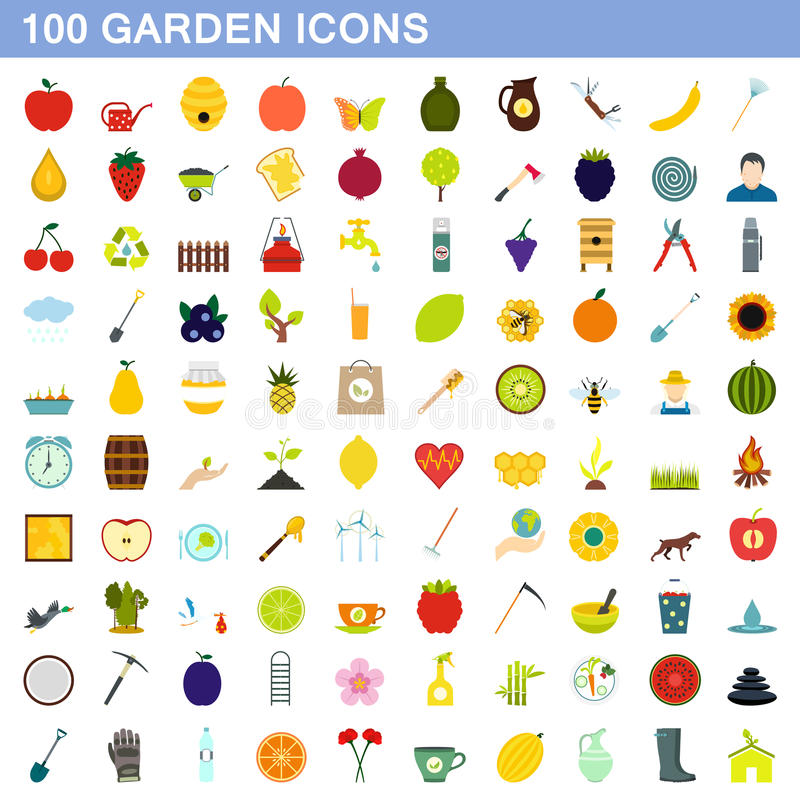 100 garden icons set, flat style royalty free illustration