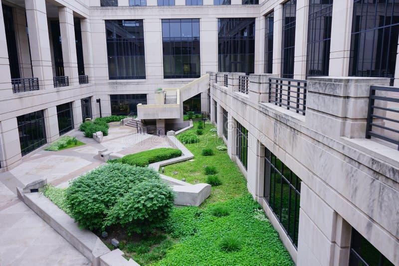 Garden of Indiana government center stock photo