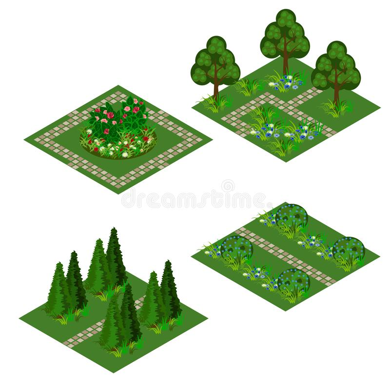 Garden isometric asset for design landscape in game or cartoon vector illustration