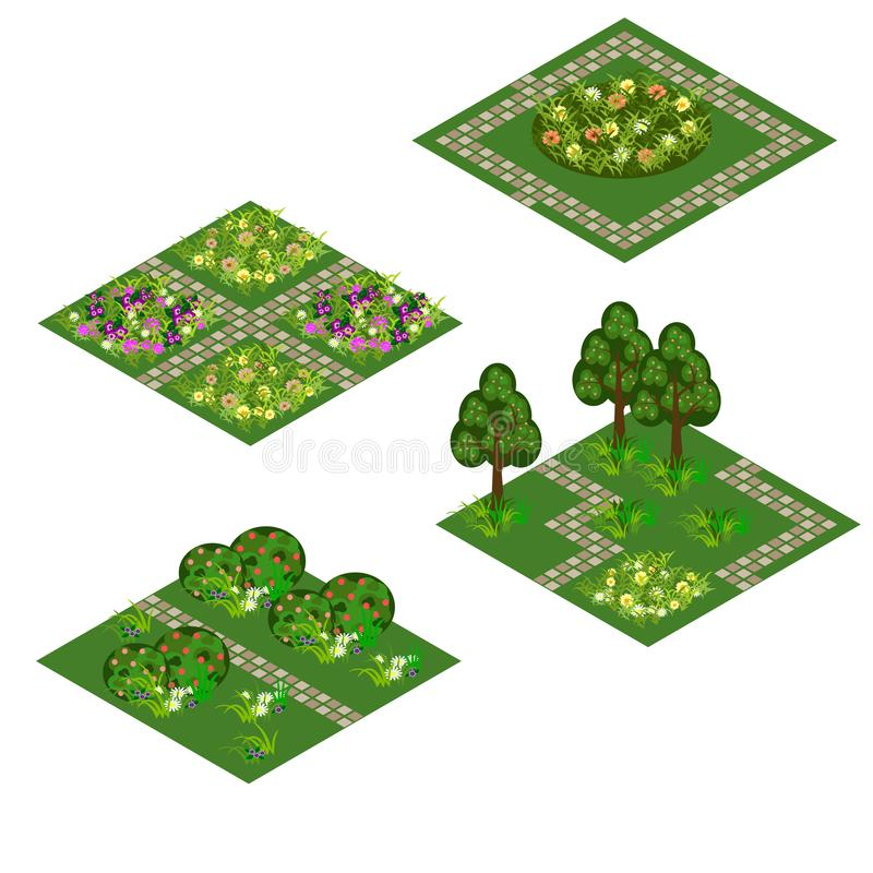 Garden isometric asset for design landscape in game or cartoon vector illustration