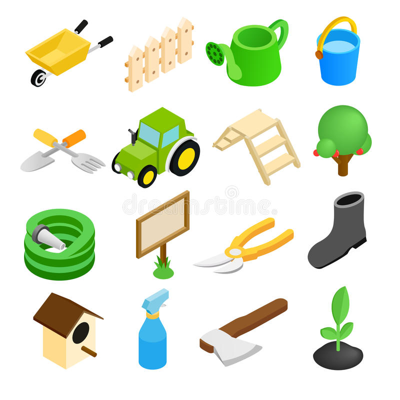 Garden isometric 3d icons set royalty free illustration
