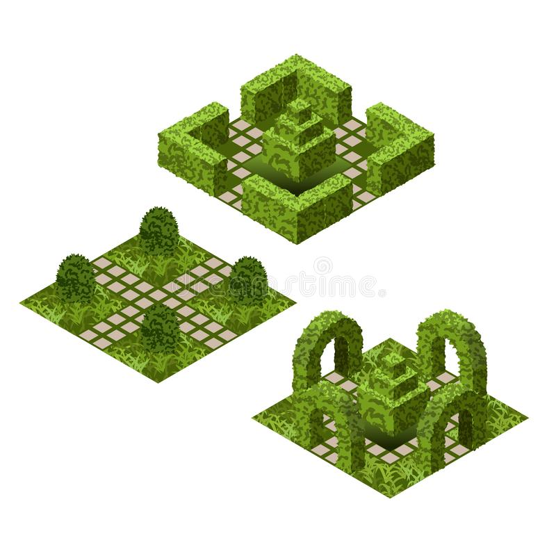 Garden isometric tile set. Asset with various bushes and grass to create topiary garden scenes royalty free illustration