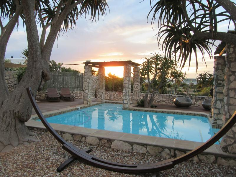 Sunset Stillness. Garden in Jacobs Bay WestCoast SouthAfrica a sunset scence royalty free stock photos