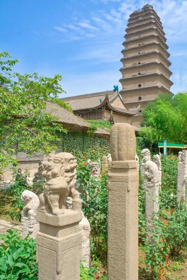 Garden at Jianfu Temple with Small Wild Goose Pagoda in the background. Xian, China. royalty free stock image