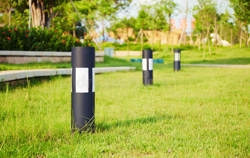 lawn lamp, garden light, landscape lighting, outdoor light stock photography