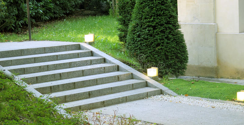 Download Garden Landscape Design Stair With Light Stock Photo