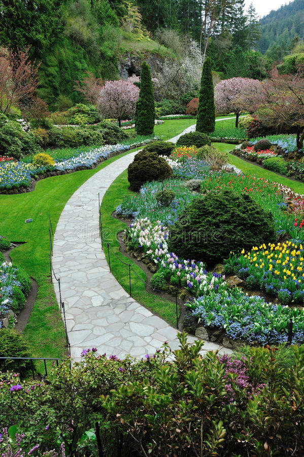Garden landscaping, victoria bc royalty free stock photo
