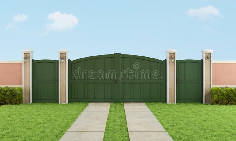 Garden with large driveway gate. Garden with vehicular and pedestrian gate - 3D Rendering stock illustration
